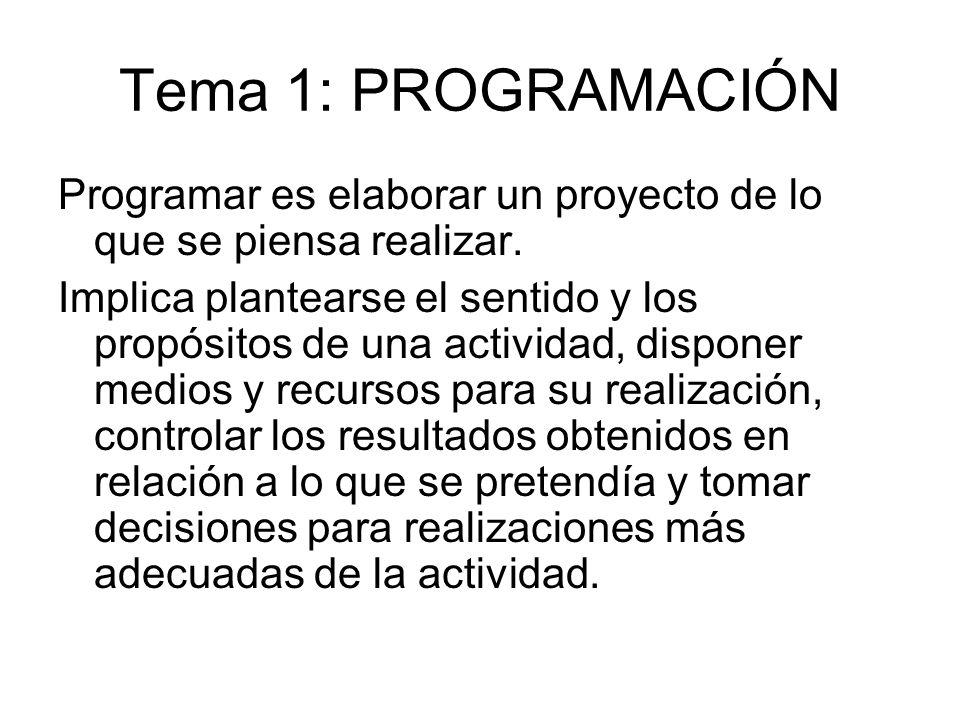 Tema 1: PROGRAMACIÓN Programar es elaborar un proyecto de lo que se piensa realizar. Implica plantearse el sentido y los propósitos de una actividad,