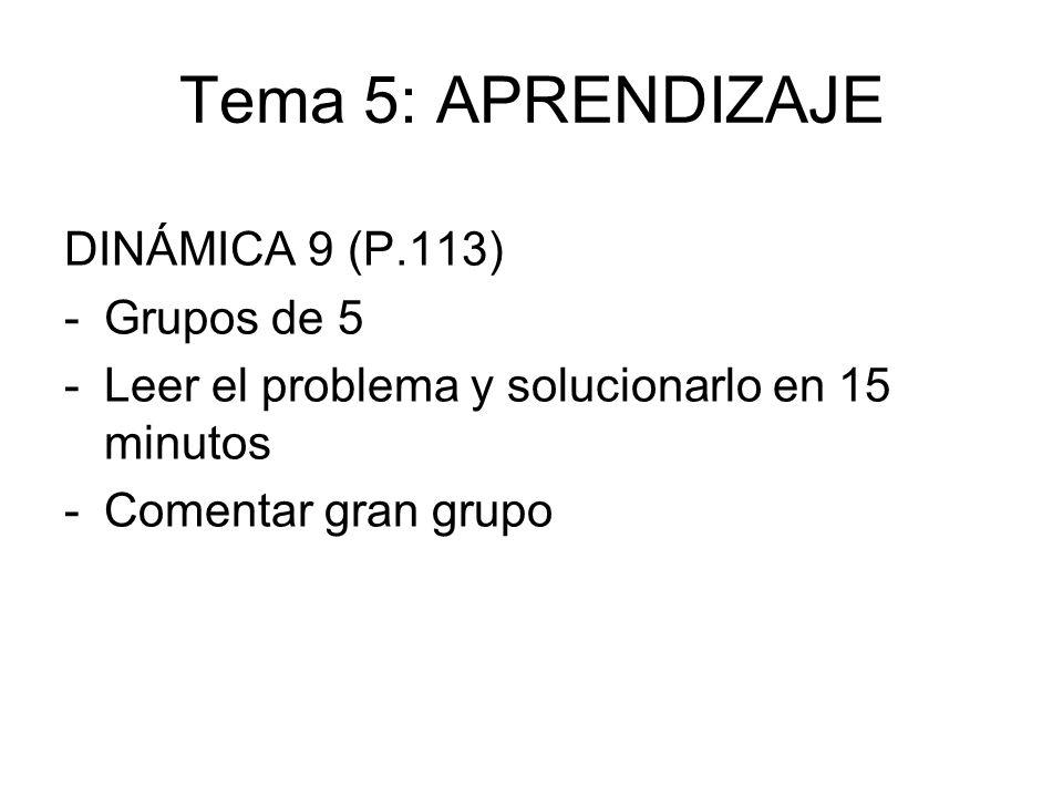 Tema 5: APRENDIZAJE DINÁMICA 9 (P.113) -Grupos de 5 -Leer el problema y solucionarlo en 15 minutos -Comentar gran grupo