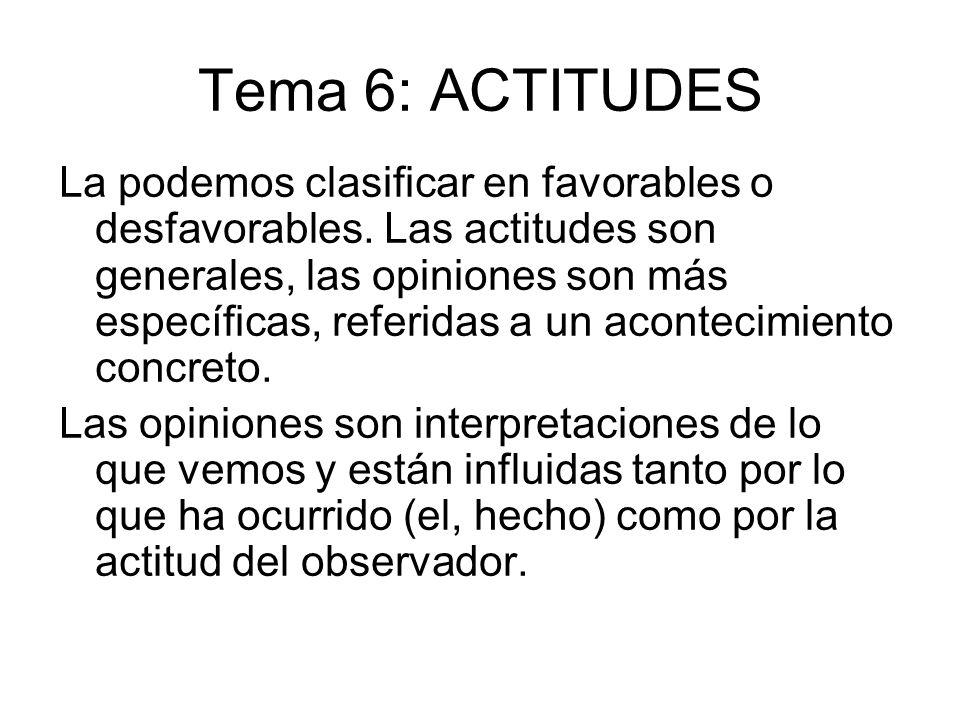 Tema 6: ACTITUDES La podemos clasificar en favorables o desfavorables. Las actitudes son generales, las opiniones son más específicas, referidas a un