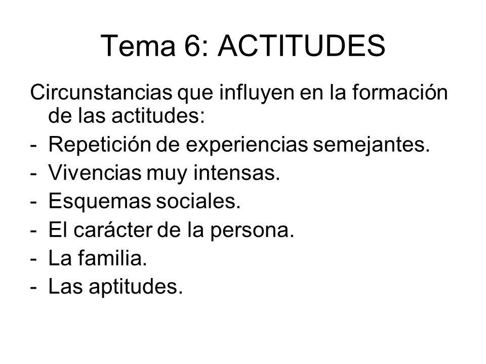 Tema 6: ACTITUDES Circunstancias que influyen en la formación de las actitudes: -Repetición de experiencias semejantes. -Vivencias muy intensas. -Esqu
