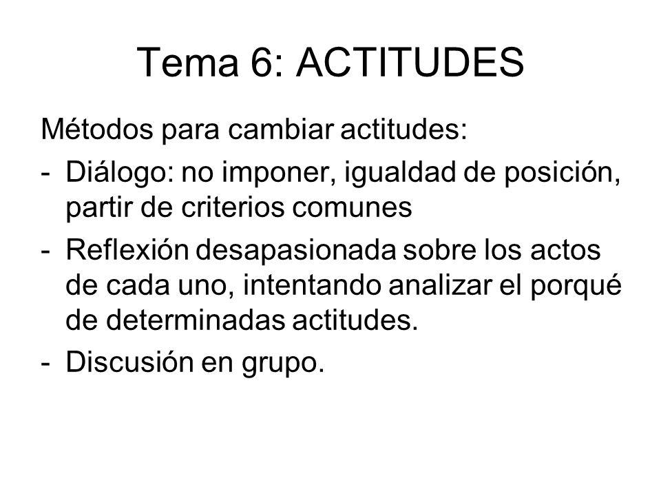 Tema 6: ACTITUDES Métodos para cambiar actitudes: -Diálogo: no imponer, igualdad de posición, partir de criterios comunes -Reflexión desapasionada sob