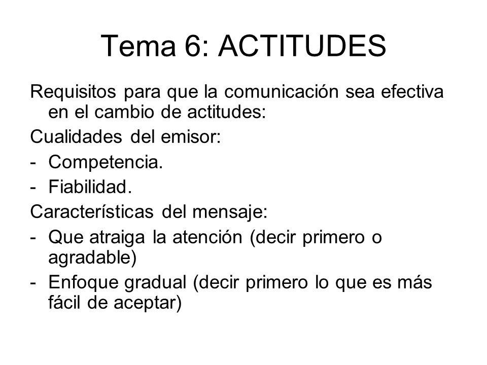 Tema 6: ACTITUDES Requisitos para que la comunicación sea efectiva en el cambio de actitudes: Cualidades del emisor: -Competencia. -Fiabilidad. Caract