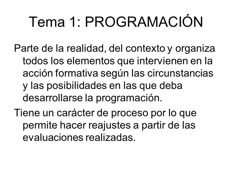 Tema 1: PROGRAMACIÓN Parte de la realidad, del contexto y organiza todos los elementos que intervienen en la acción formativa según las circunstancias