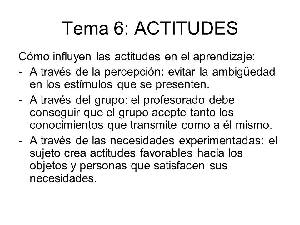Tema 6: ACTITUDES Cómo influyen las actitudes en el aprendizaje: -A través de la percepción: evitar la ambigüedad en los estímulos que se presenten. -