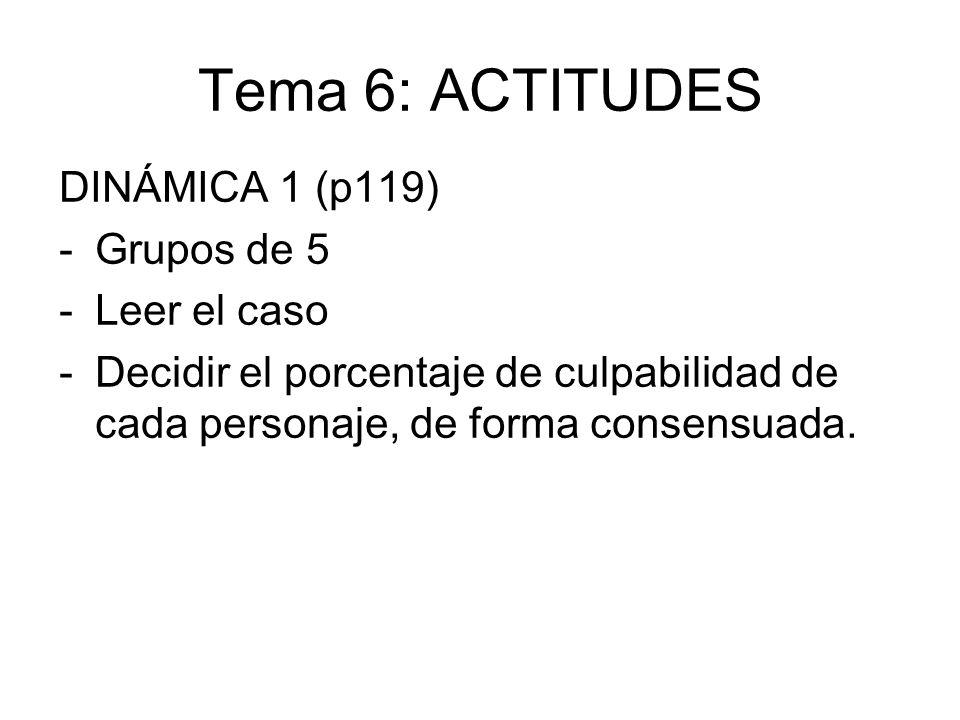 Tema 6: ACTITUDES DINÁMICA 1 (p119) -Grupos de 5 -Leer el caso -Decidir el porcentaje de culpabilidad de cada personaje, de forma consensuada.