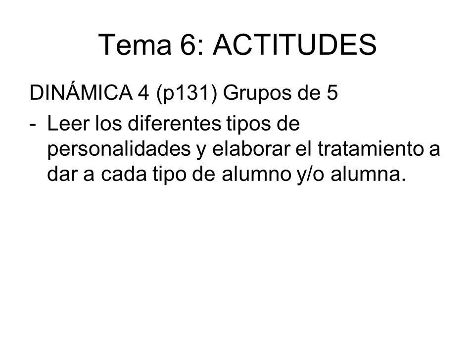 Tema 6: ACTITUDES DINÁMICA 4 (p131) Grupos de 5 -Leer los diferentes tipos de personalidades y elaborar el tratamiento a dar a cada tipo de alumno y/o
