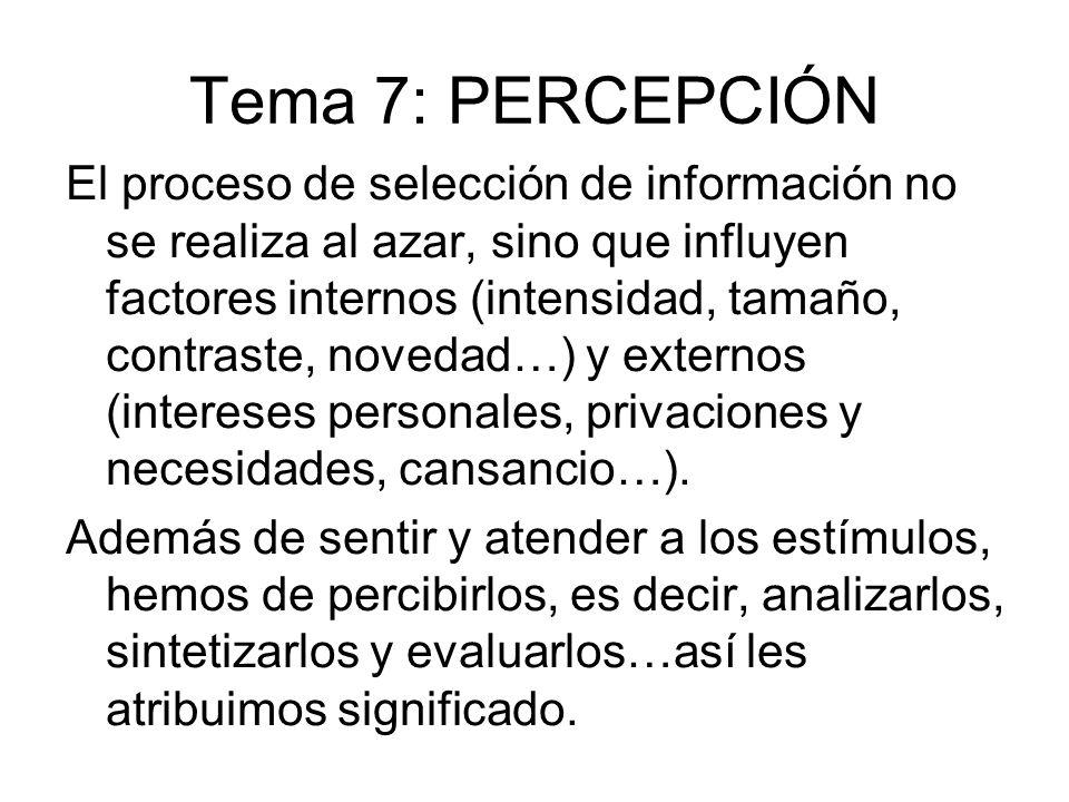 Tema 7: PERCEPCIÓN El proceso de selección de información no se realiza al azar, sino que influyen factores internos (intensidad, tamaño, contraste, n