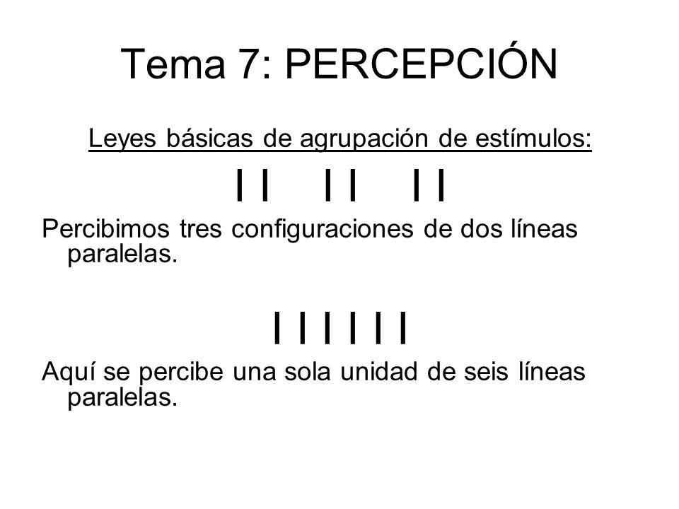 Tema 7: PERCEPCIÓN Leyes básicas de agrupación de estímulos: I I I Percibimos tres configuraciones de dos líneas paralelas. I I I Aquí se percibe una