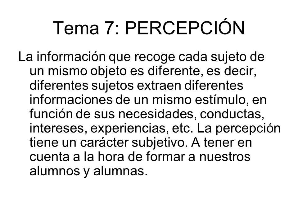 Tema 7: PERCEPCIÓN La información que recoge cada sujeto de un mismo objeto es diferente, es decir, diferentes sujetos extraen diferentes informacione