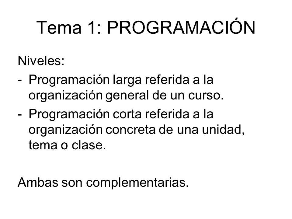 Tema 1: PROGRAMACIÓN Niveles: -Programación larga referida a la organización general de un curso. -Programación corta referida a la organización concr