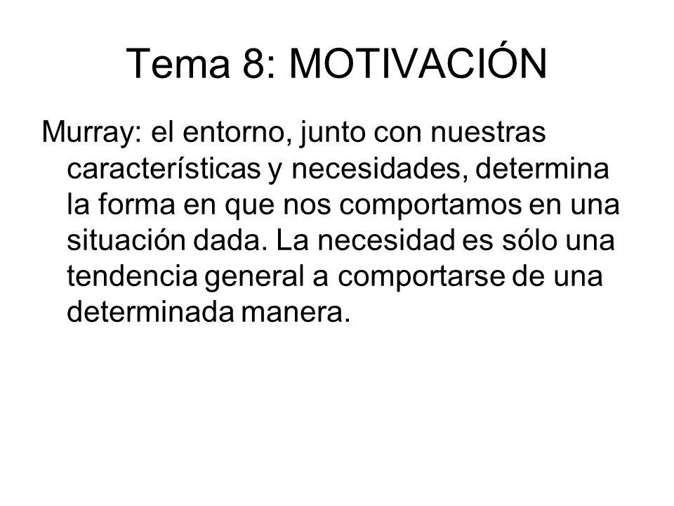 Tema 8: MOTIVACIÓN Murray: el entorno, junto con nuestras características y necesidades, determina la forma en que nos comportamos en una situación da