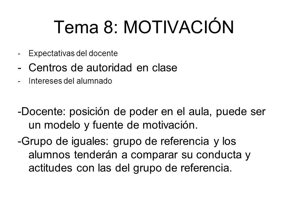 Tema 8: MOTIVACIÓN -Expectativas del docente -Centros de autoridad en clase -Intereses del alumnado -Docente: posición de poder en el aula, puede ser