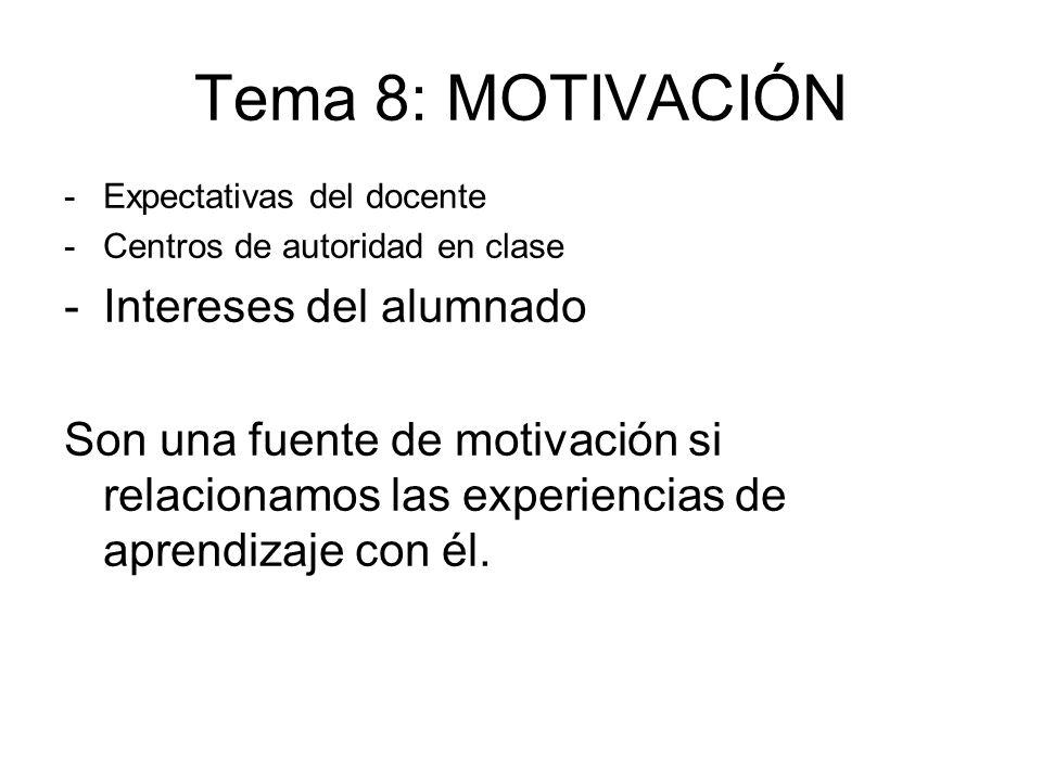 Tema 8: MOTIVACIÓN -Expectativas del docente -Centros de autoridad en clase -Intereses del alumnado Son una fuente de motivación si relacionamos las e
