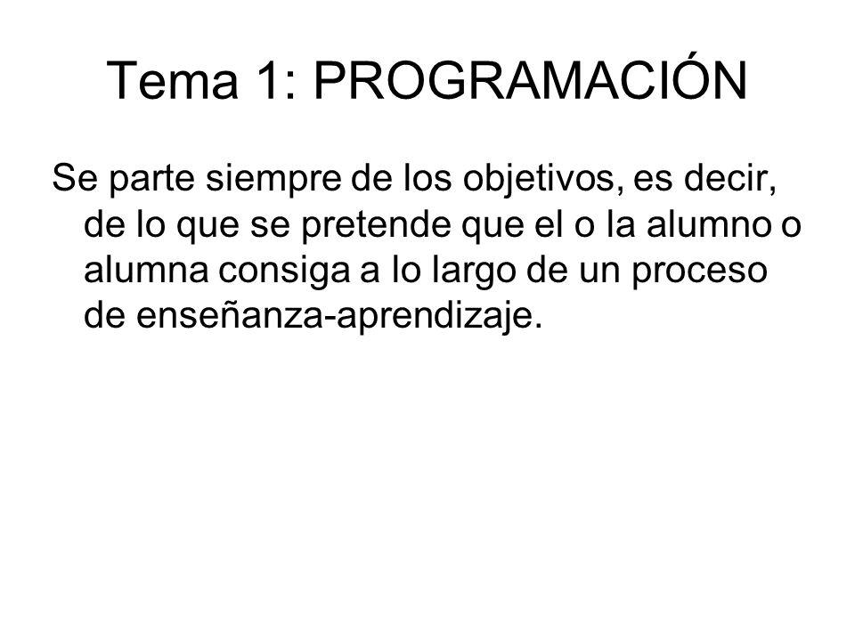 Tema 1: PROGRAMACIÓN Se parte siempre de los objetivos, es decir, de lo que se pretende que el o la alumno o alumna consiga a lo largo de un proceso d