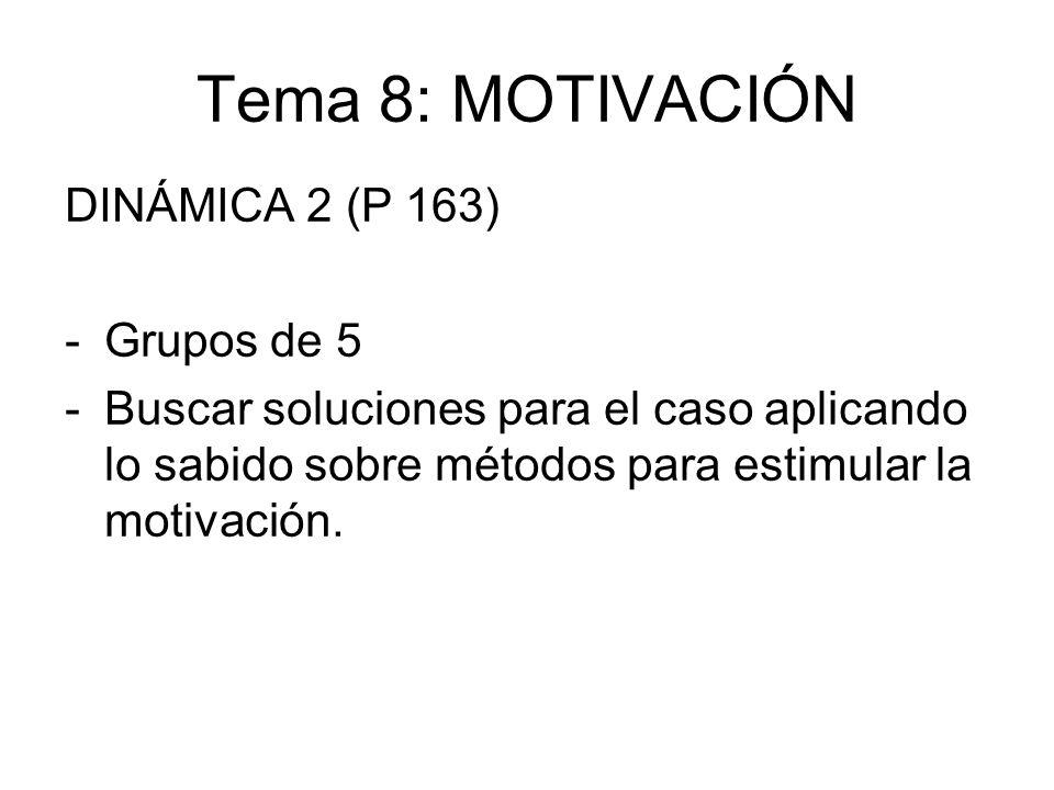 Tema 8: MOTIVACIÓN DINÁMICA 2 (P 163) -Grupos de 5 -Buscar soluciones para el caso aplicando lo sabido sobre métodos para estimular la motivación.