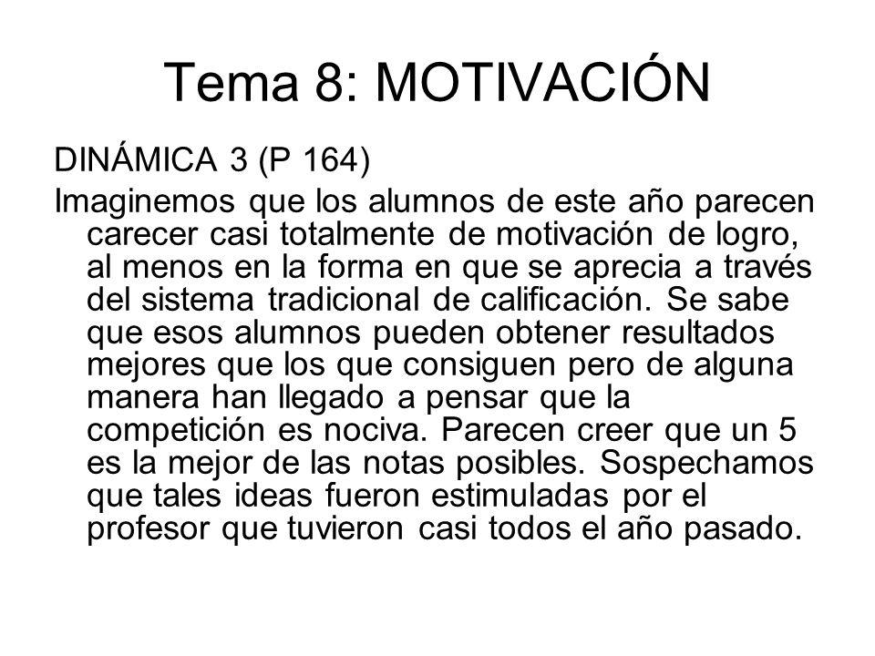 Tema 8: MOTIVACIÓN DINÁMICA 3 (P 164) Imaginemos que los alumnos de este año parecen carecer casi totalmente de motivación de logro, al menos en la fo