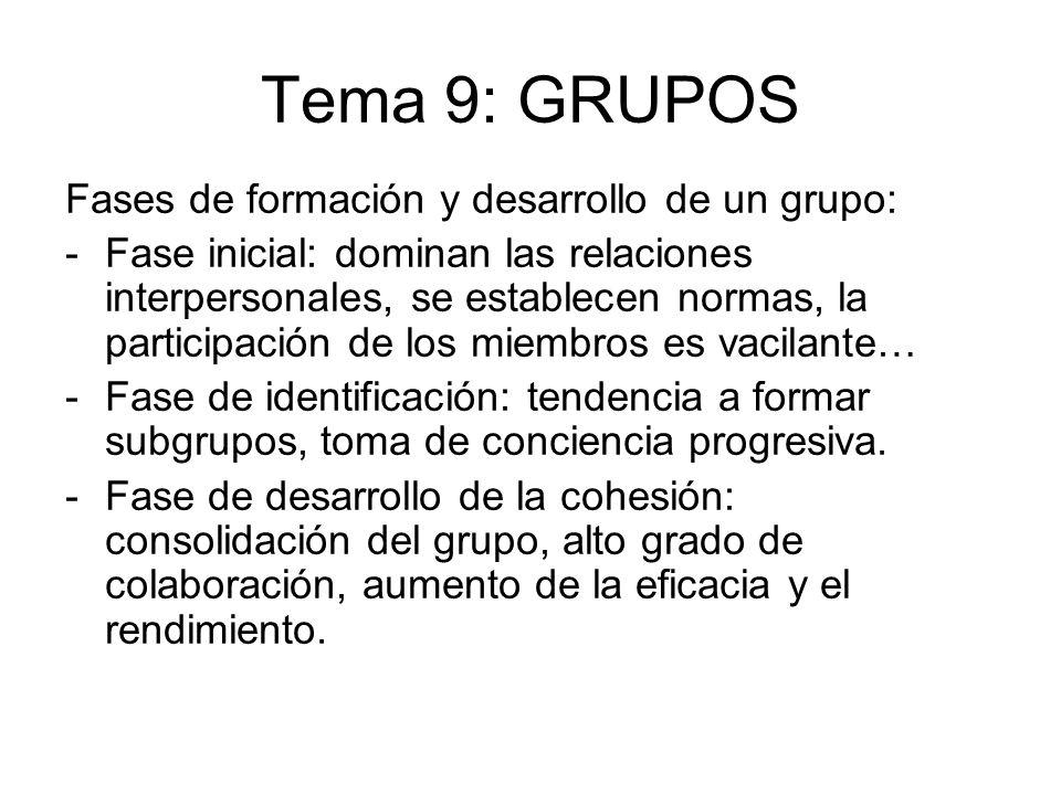 Tema 9: GRUPOS Fases de formación y desarrollo de un grupo: -Fase inicial: dominan las relaciones interpersonales, se establecen normas, la participac