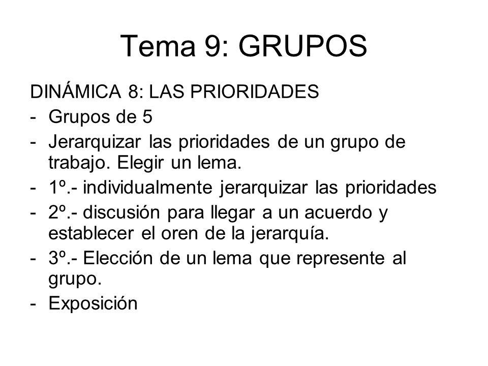Tema 9: GRUPOS DINÁMICA 8: LAS PRIORIDADES -Grupos de 5 -Jerarquizar las prioridades de un grupo de trabajo. Elegir un lema. -1º.- individualmente jer
