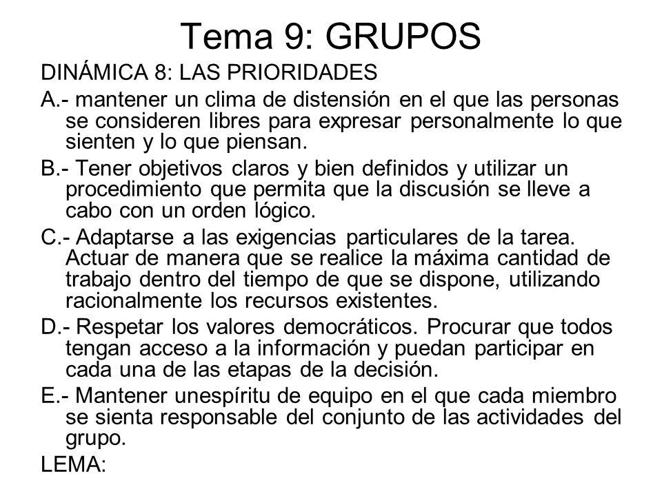 Tema 9: GRUPOS DINÁMICA 8: LAS PRIORIDADES A.- mantener un clima de distensión en el que las personas se consideren libres para expresar personalmente
