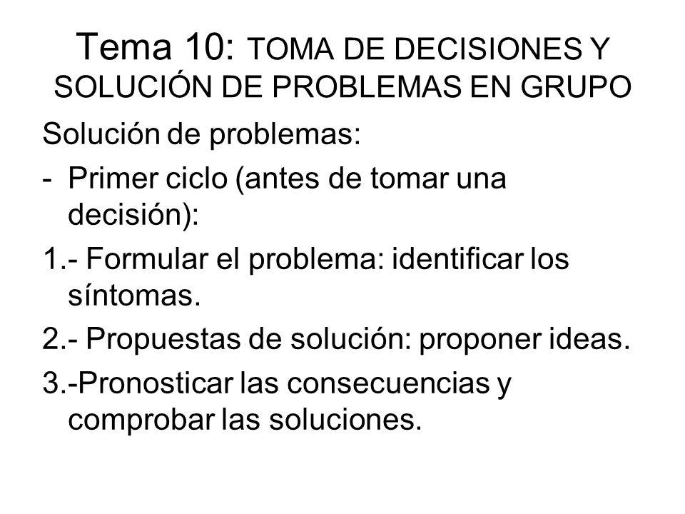Tema 10: TOMA DE DECISIONES Y SOLUCIÓN DE PROBLEMAS EN GRUPO Solución de problemas: -Primer ciclo (antes de tomar una decisión): 1.- Formular el probl