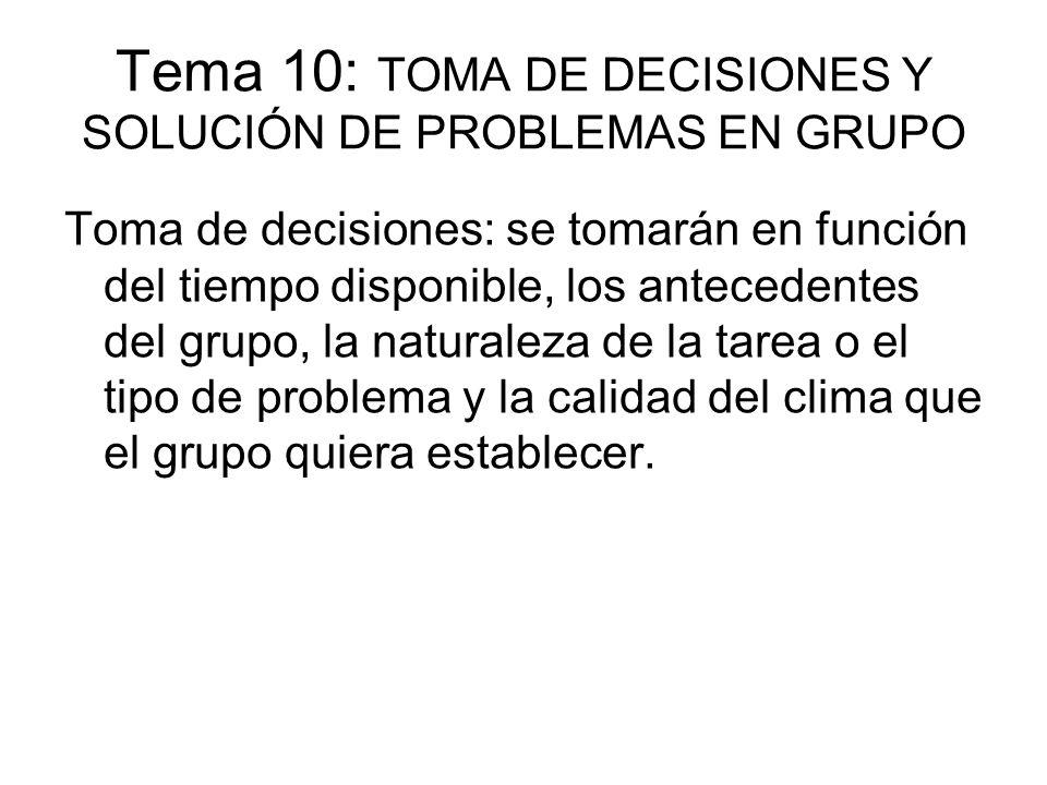 Tema 10: TOMA DE DECISIONES Y SOLUCIÓN DE PROBLEMAS EN GRUPO Toma de decisiones: se tomarán en función del tiempo disponible, los antecedentes del gru