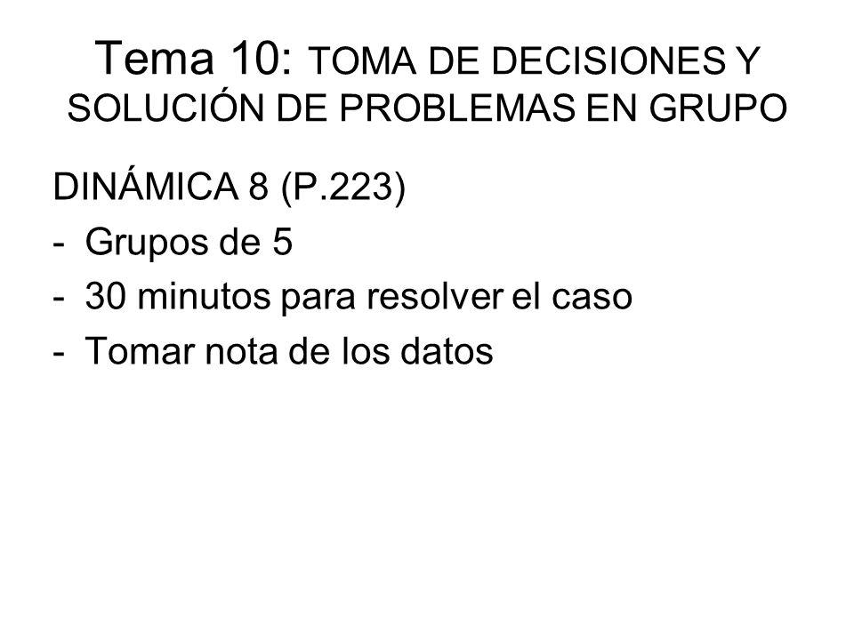 Tema 10: TOMA DE DECISIONES Y SOLUCIÓN DE PROBLEMAS EN GRUPO DINÁMICA 8 (P.223) -Grupos de 5 -30 minutos para resolver el caso -Tomar nota de los dato