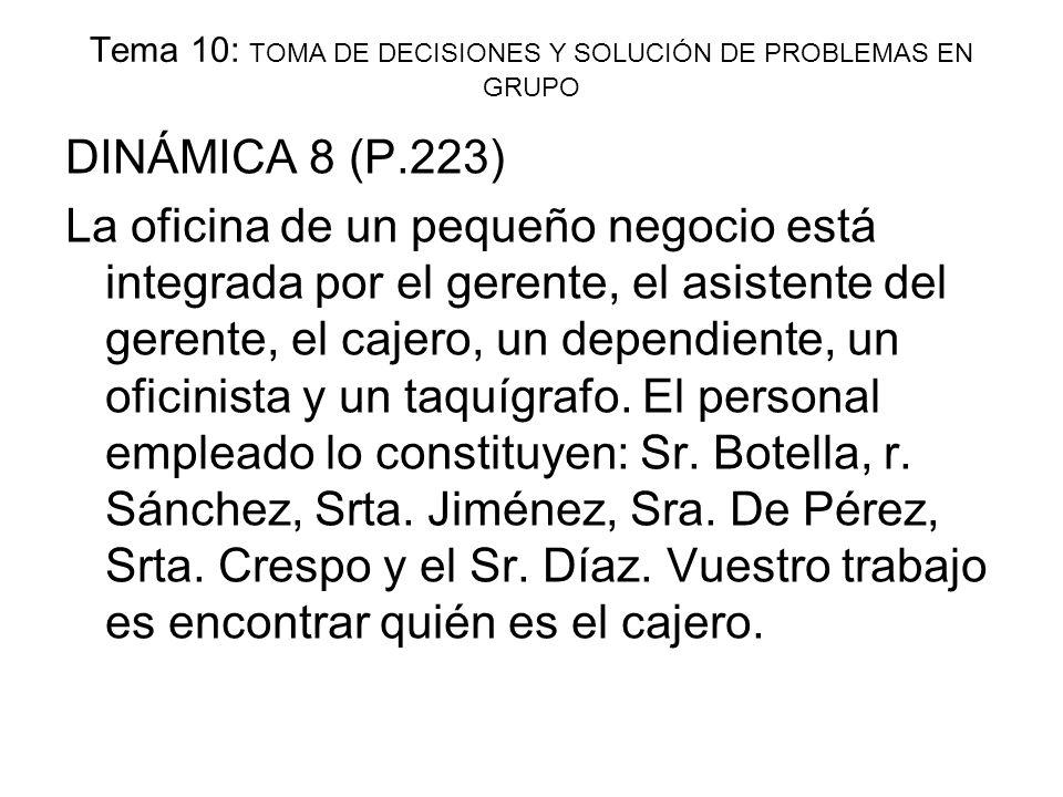 Tema 10: TOMA DE DECISIONES Y SOLUCIÓN DE PROBLEMAS EN GRUPO DINÁMICA 8 (P.223) La oficina de un pequeño negocio está integrada por el gerente, el asi