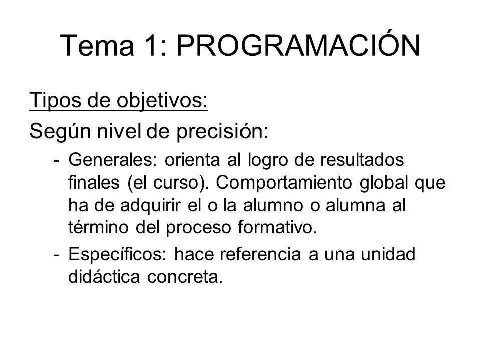 Tema 1: PROGRAMACIÓN Tipos de objetivos: Según nivel de precisión: -Generales: orienta al logro de resultados finales (el curso). Comportamiento globa