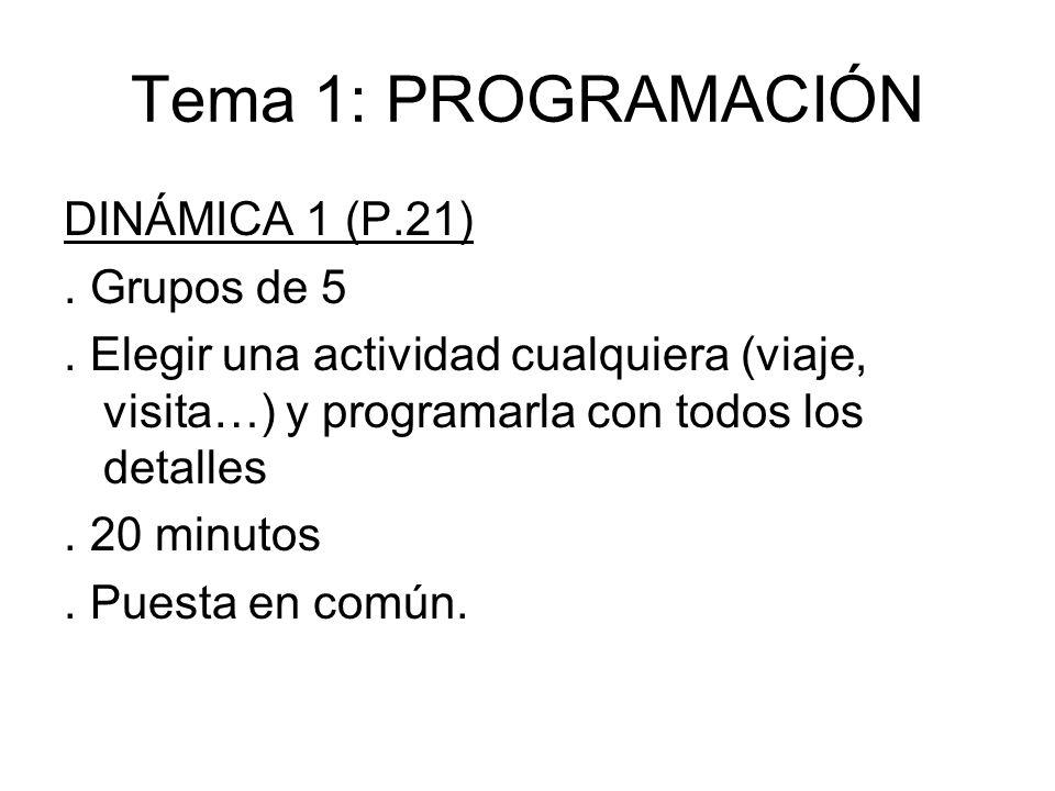 Tema 1: PROGRAMACIÓN DINÁMICA 1 (P.21). Grupos de 5. Elegir una actividad cualquiera (viaje, visita…) y programarla con todos los detalles. 20 minutos