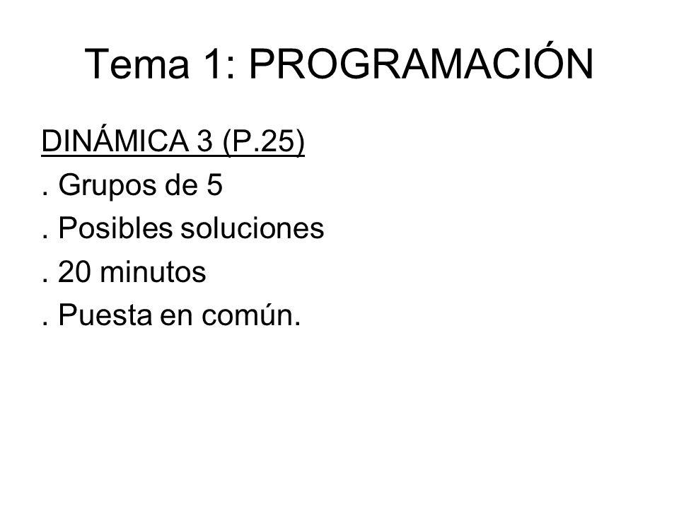 Tema 1: PROGRAMACIÓN DINÁMICA 3 (P.25). Grupos de 5. Posibles soluciones. 20 minutos. Puesta en común.