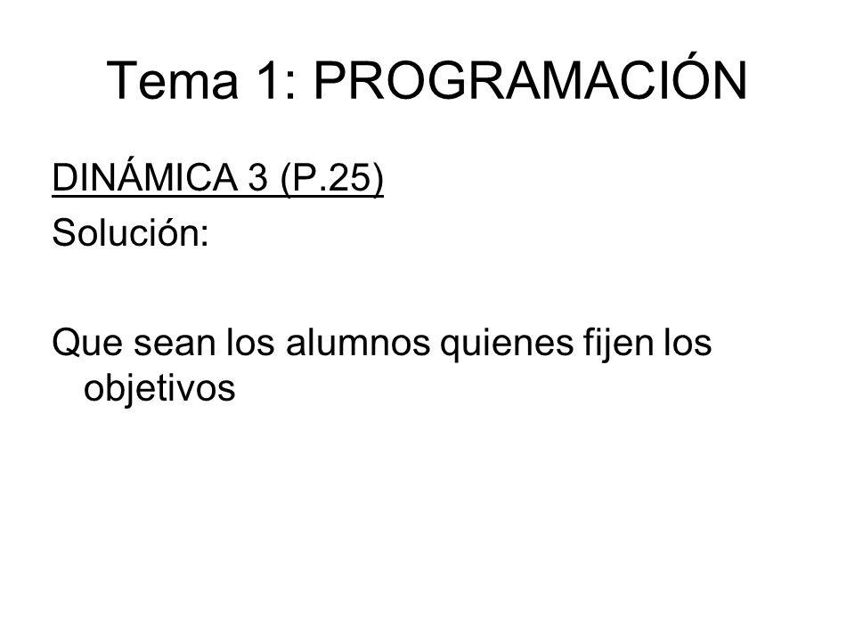 Tema 1: PROGRAMACIÓN DINÁMICA 3 (P.25) Solución: Que sean los alumnos quienes fijen los objetivos