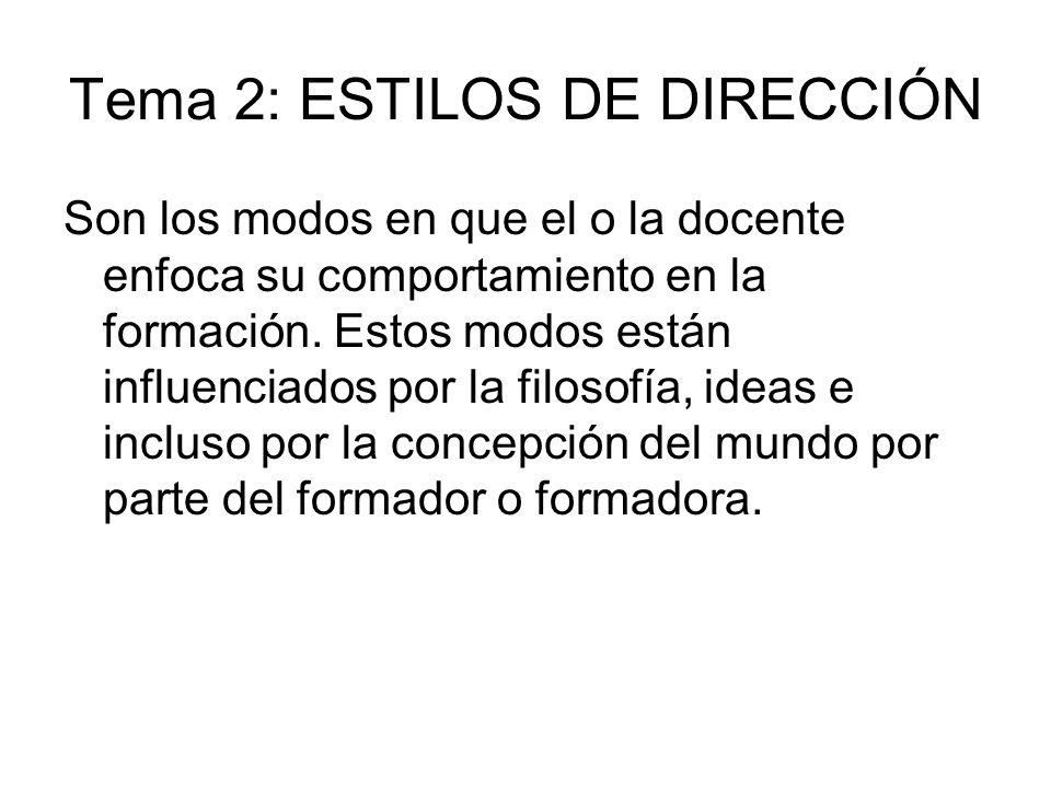 Tema 2: ESTILOS DE DIRECCIÓN Son los modos en que el o la docente enfoca su comportamiento en la formación. Estos modos están influenciados por la fil