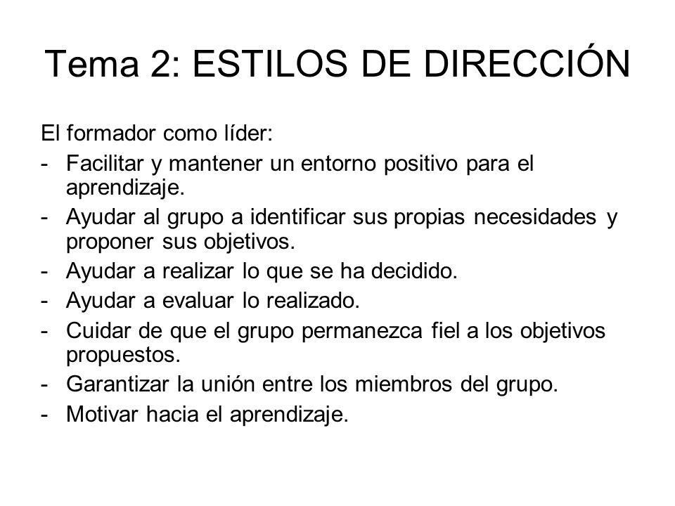 Tema 2: ESTILOS DE DIRECCIÓN El formador como líder: -Facilitar y mantener un entorno positivo para el aprendizaje. -Ayudar al grupo a identificar sus