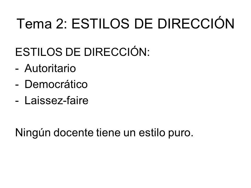 Tema 2: ESTILOS DE DIRECCIÓN ESTILOS DE DIRECCIÓN: -Autoritario -Democrático -Laissez-faire Ningún docente tiene un estilo puro.