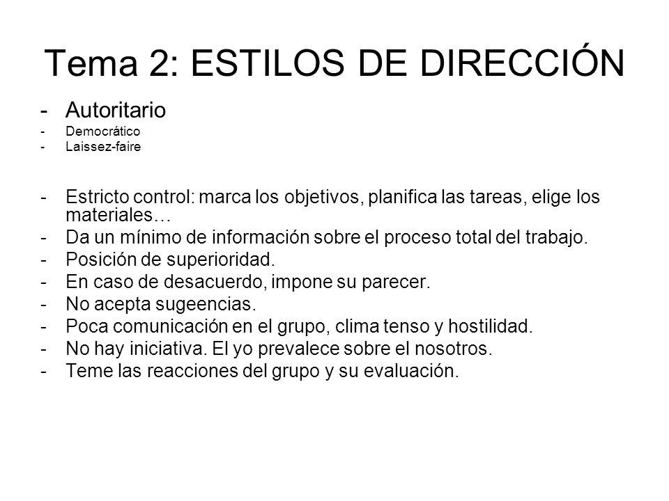 Tema 2: ESTILOS DE DIRECCIÓN -Autoritario -Democrático -Laissez-faire -Estricto control: marca los objetivos, planifica las tareas, elige los material