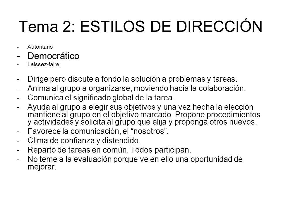 Tema 2: ESTILOS DE DIRECCIÓN -Autoritario -Democrático -Laissez-faire -Dirige pero discute a fondo la solución a problemas y tareas. -Anima al grupo a