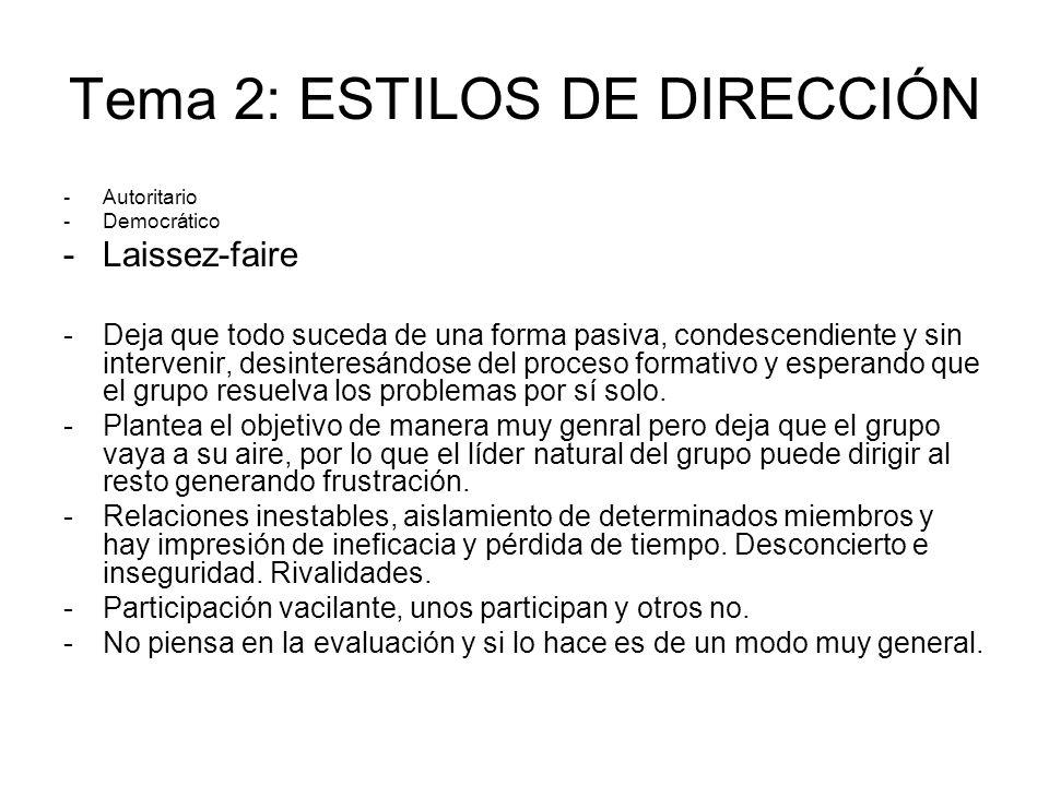 Tema 2: ESTILOS DE DIRECCIÓN -Autoritario -Democrático -Laissez-faire -Deja que todo suceda de una forma pasiva, condescendiente y sin intervenir, des