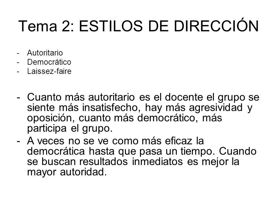 Tema 2: ESTILOS DE DIRECCIÓN -Autoritario -Democrático -Laissez-faire -Cuanto más autoritario es el docente el grupo se siente más insatisfecho, hay m