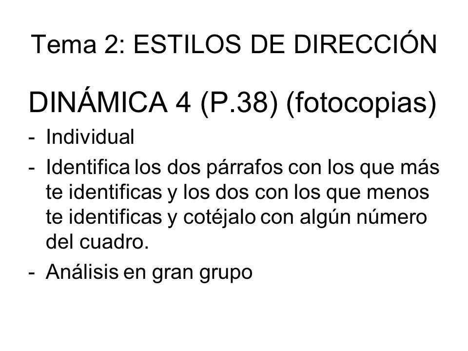 Tema 2: ESTILOS DE DIRECCIÓN DINÁMICA 4 (P.38) (fotocopias) -Individual -Identifica los dos párrafos con los que más te identificas y los dos con los