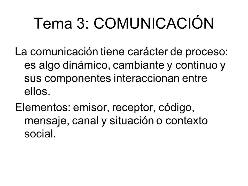 Tema 3: COMUNICACIÓN La comunicación tiene carácter de proceso: es algo dinámico, cambiante y continuo y sus componentes interaccionan entre ellos. El