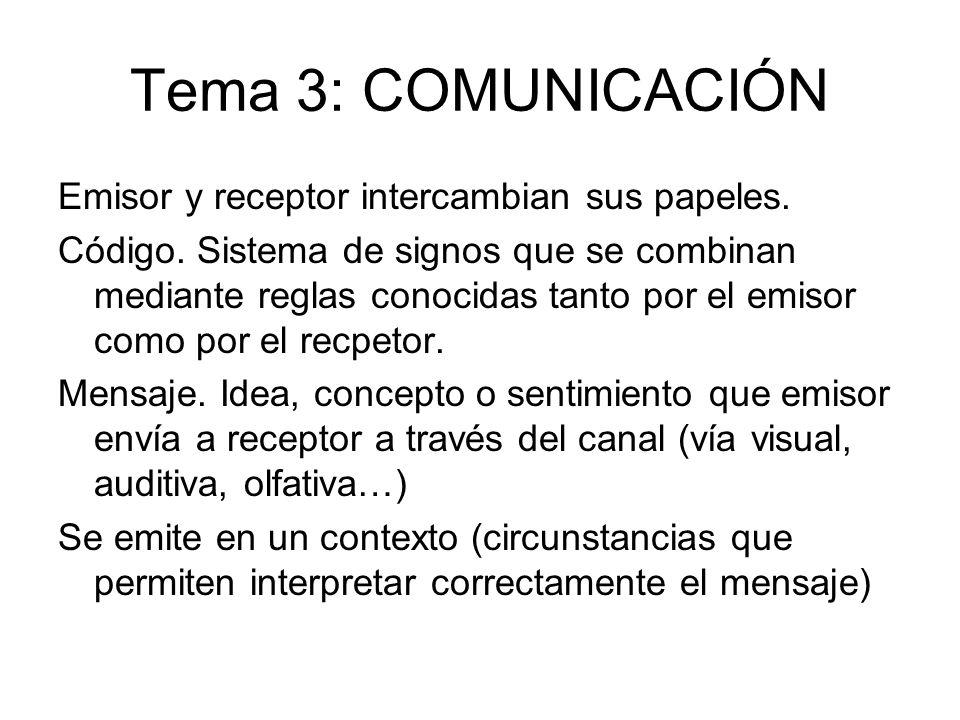 Tema 3: COMUNICACIÓN Emisor y receptor intercambian sus papeles. Código. Sistema de signos que se combinan mediante reglas conocidas tanto por el emis
