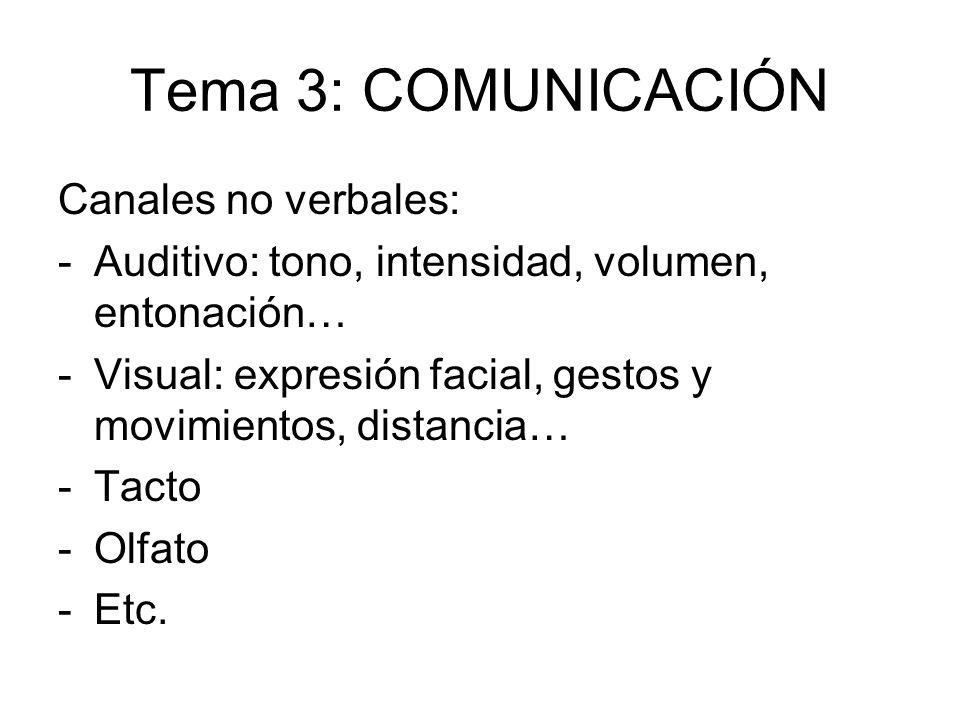 Tema 3: COMUNICACIÓN Canales no verbales: -Auditivo: tono, intensidad, volumen, entonación… -Visual: expresión facial, gestos y movimientos, distancia