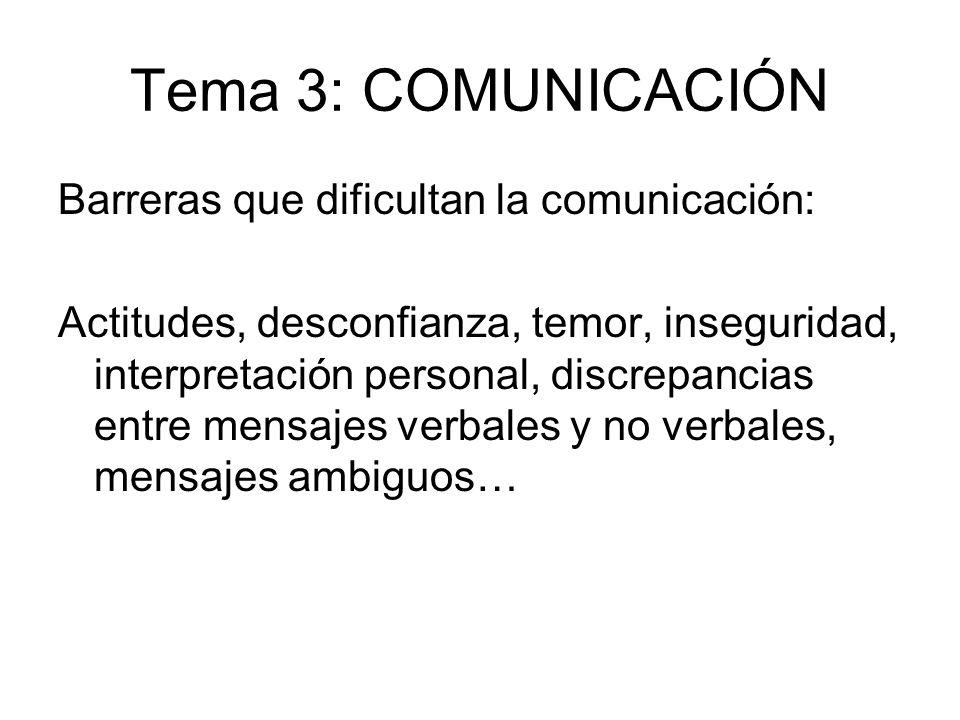Tema 3: COMUNICACIÓN Barreras que dificultan la comunicación: Actitudes, desconfianza, temor, inseguridad, interpretación personal, discrepancias entr
