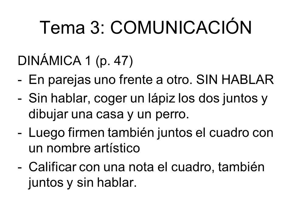Tema 3: COMUNICACIÓN DINÁMICA 1 (p. 47) -En parejas uno frente a otro. SIN HABLAR -Sin hablar, coger un lápiz los dos juntos y dibujar una casa y un p