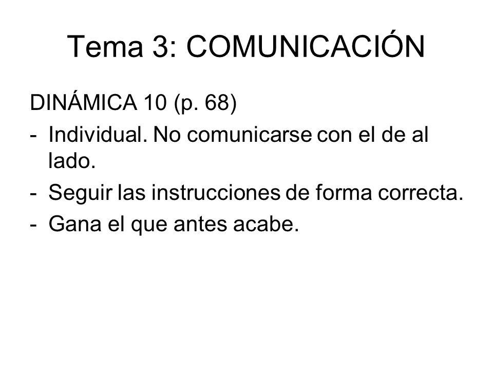 Tema 3: COMUNICACIÓN DINÁMICA 10 (p. 68) -Individual. No comunicarse con el de al lado. -Seguir las instrucciones de forma correcta. -Gana el que ante