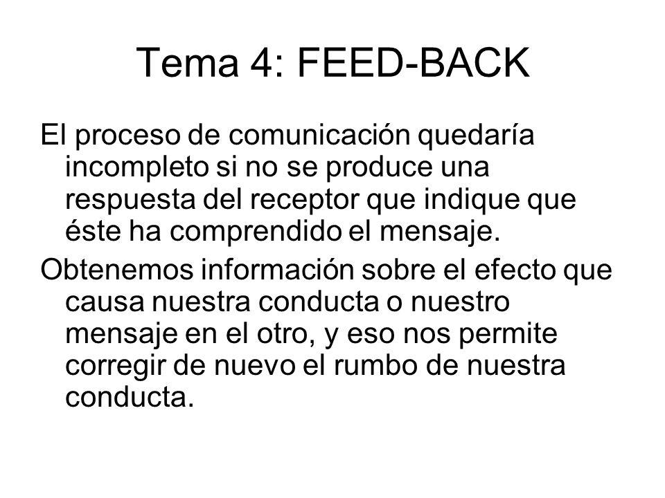 Tema 4: FEED-BACK El proceso de comunicación quedaría incompleto si no se produce una respuesta del receptor que indique que éste ha comprendido el me