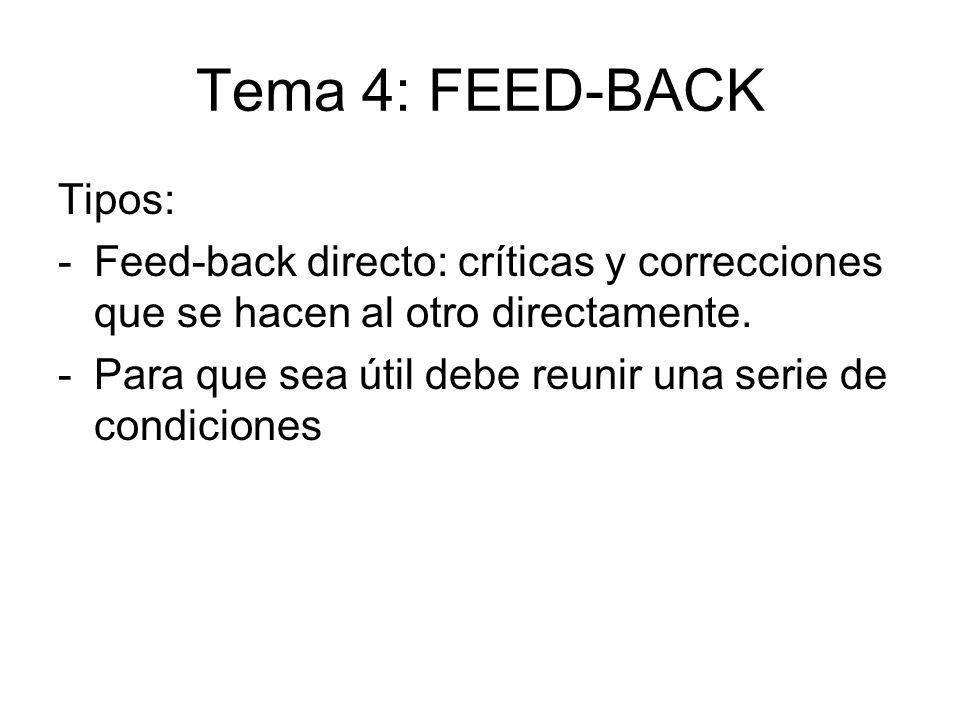 Tema 4: FEED-BACK Tipos: -Feed-back directo: críticas y correcciones que se hacen al otro directamente. -Para que sea útil debe reunir una serie de co