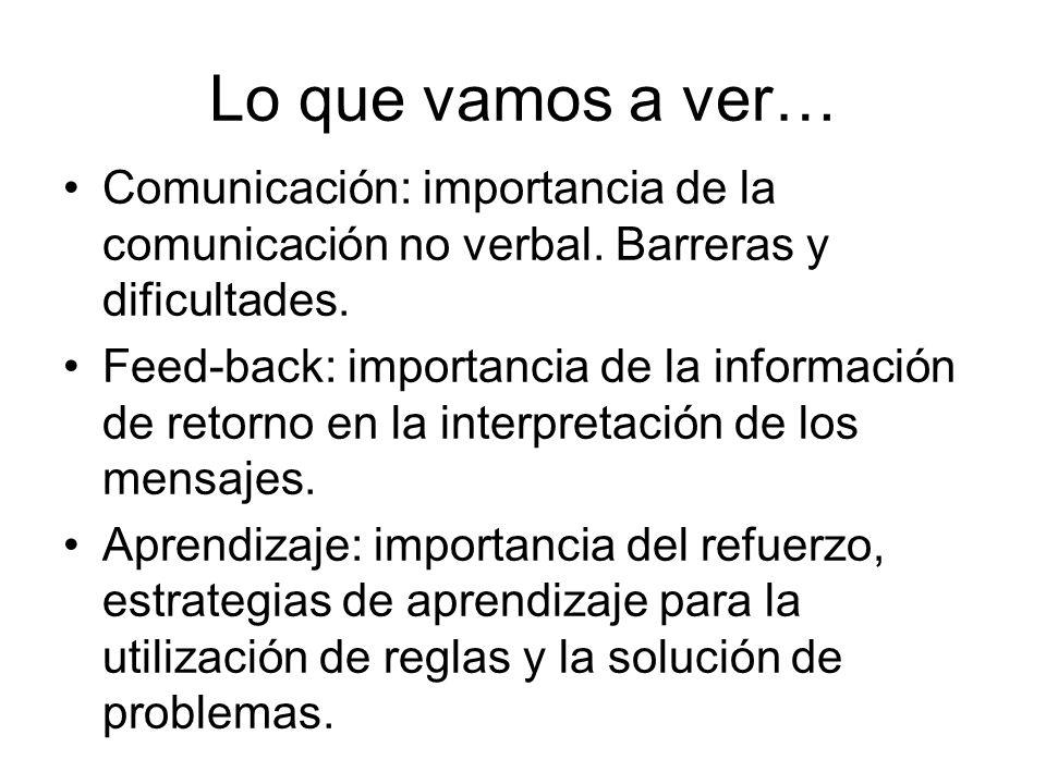 Comunicación: importancia de la comunicación no verbal. Barreras y dificultades. Feed-back: importancia de la información de retorno en la interpretac