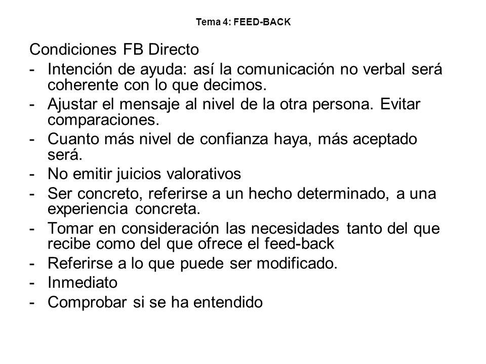 Tema 4: FEED-BACK Condiciones FB Directo -Intención de ayuda: así la comunicación no verbal será coherente con lo que decimos. -Ajustar el mensaje al