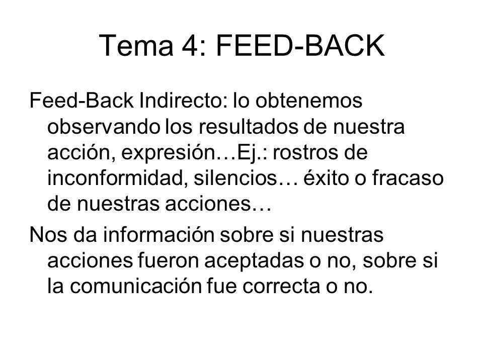 Tema 4: FEED-BACK Feed-Back Indirecto: lo obtenemos observando los resultados de nuestra acción, expresión…Ej.: rostros de inconformidad, silencios… é